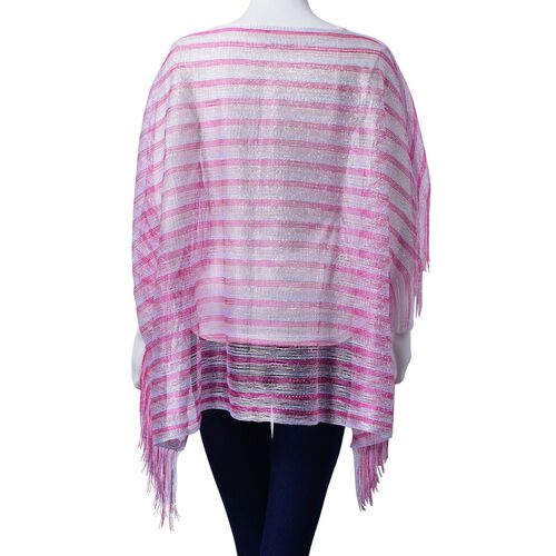 Pink Colour Poncho with Tassels (Size 100x60 Cm)