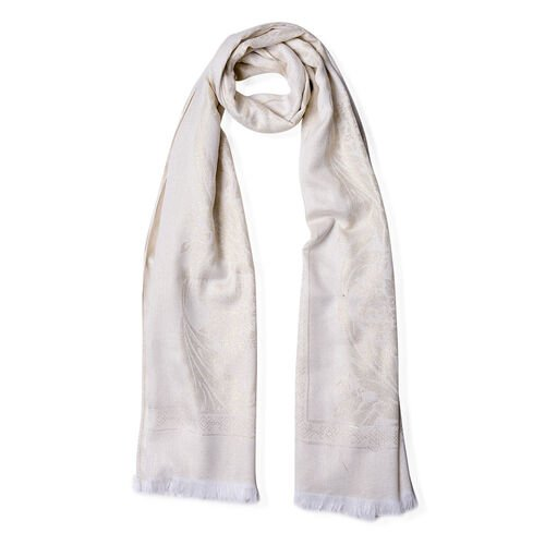 Leaves and Floral Pattern White Colour Scarf with Fringes (Size 180x70 Cm)