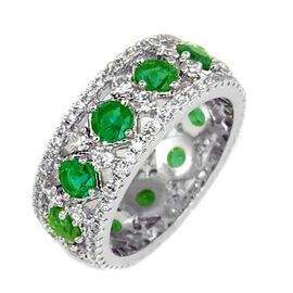 AAA Simulated Diopside (Rnd), Simulated Diamond Full Eternity Ring in Silver Bond, Number of Simulated Diamonds 130