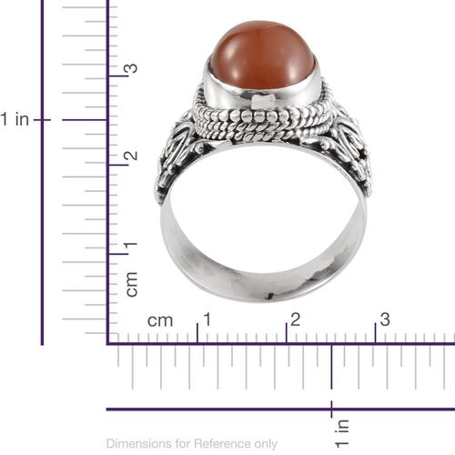 Jewels of India Mitiyagoda Peach Moonstone (Ovl) Solitaire Ring in Sterling Silver 7.020 Ct.