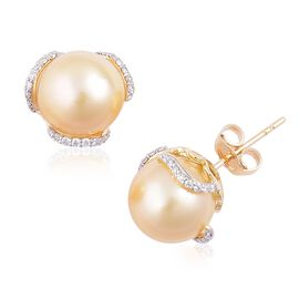 ILIANA 18K Yellow Gold AAAA South Sea Golden Pearl (Rnd 10 to 10.5 mm), Diamond (SI/G-H) Stud Earrings (with Push Back)