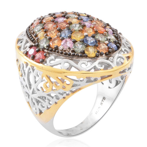 Designer Inspired- AAA Rainbow Sapphire (Rnd) Cluster Ring in Rhodium and Gold Overlay Sterling Silver 6.500 Ct.