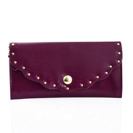 100% Genuine  High Glossed Purple Colour RFID Blocker Ladies Wallet (Size 19.5x10 Cm)