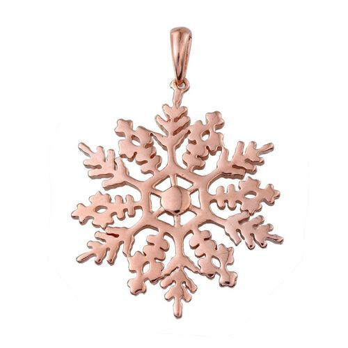 Rose Gold Overlay Sterling Silver Snowflake Pendant, Silver wt 7.02 Gms.