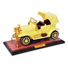 Home Decor - Yellow and Brown Colour Moving Vintage Car Design Music Box (Size 24.7X14X12 Cm)