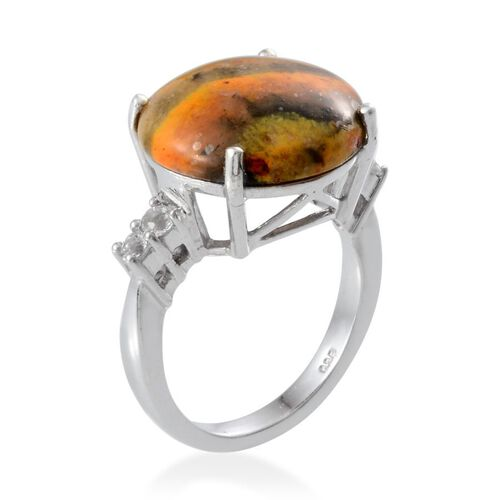 Bumble Bee Jasper (Rnd 12.50 Ct), White Topaz Ring in Platinum Overlay Sterling Silver 12.900 Ct.