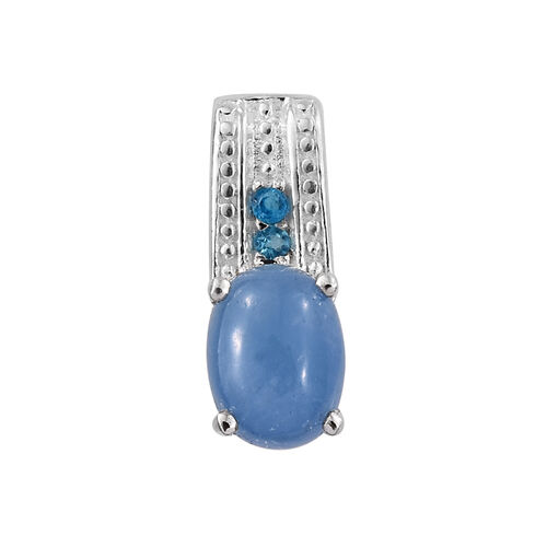 Super Bargain Price-Blue Jade (Ovl), Malgache Neon Apatite Pendant and Stud Earrings (with Push Back) in Sterling Silver 3.000 Ct.