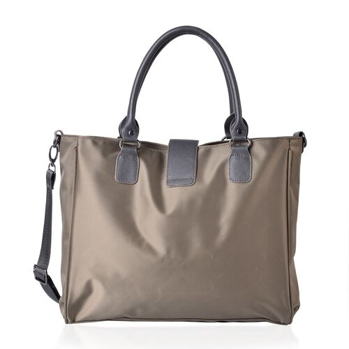 Khaki Colour Water Resistant Tote Bag with Adjustable Shoulder Strap (Size 34x28x12 Cm)