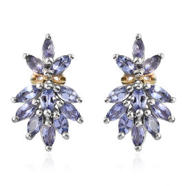 AA Tanzanite (Mrq) Earrings (with Push Back) in Platinum and Yellow Gold Overlay Sterling Silver 1.750 Ct.