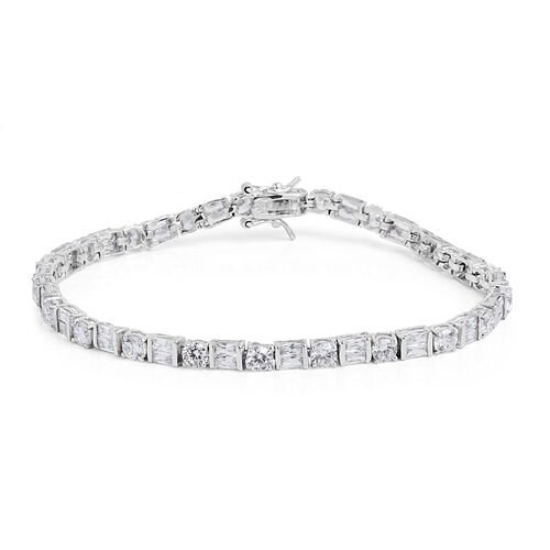 ELANZA AAA Simulated White Diamond Bracelet (Size 8) in Rhodium Plated Sterling Silver