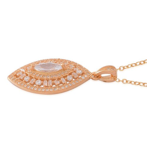 ELANZA AAA Simulated Diamond (Mrq) Pendant With Chain in 14K Gold Overlay Sterling Silver