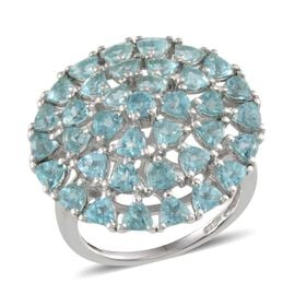 Paraibe Apatite (Trl) Cluster Ring in Platinum Overlay Sterling Silver 4.100 Ct.
