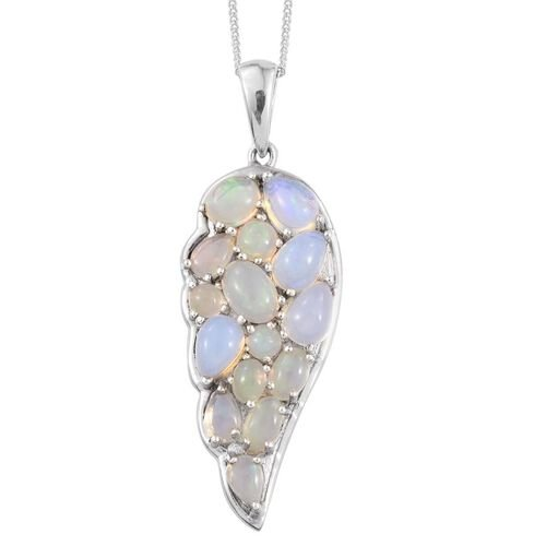 Ethiopian Opal (Ovl) Wing Pendant With Chain in Platinum Overlay Sterling Silver 2.500 Ct.