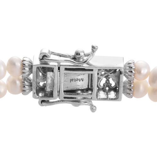 Boi Ploi Black Spinel ,Fresh Water Pearl Floral Bracelet (Size 7.5) in Platinum Overlay Sterling Silver 28.000 Ct. Silver wt. 17.17 Gms.