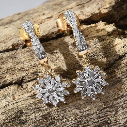 Designer Inspired-Diamond (Rnd) Earrings (with Push Back) in 14K Gold Overlay Sterling Silver 0.500 Ct.