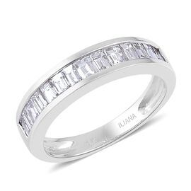 ILIANA 18K White Gold IGI Certified 1 Carat Diamond SI G-H Half Eternity Band Ring
