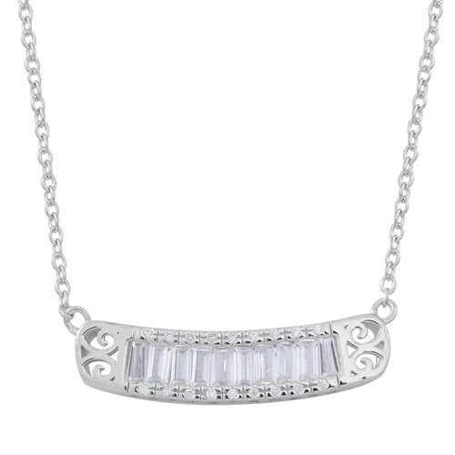 ELANZA AAA Simulated White Diamond (Bgt) Necklace (Size 18) in Rhodium Plated Sterling Silver