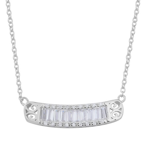 Boutique Inspired - ELANZA AAA Simulated White Diamond (Bgt) Necklace (Size 18) in Rhodium Plated Sterling Silver