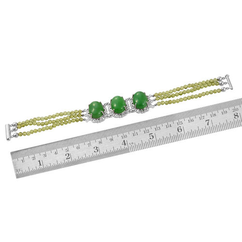 Green Jade and Hebei Peridot (Ovl) Bracelet (Size 7.5) in Platinum Overlay Sterling Silver 42.000 Ct.