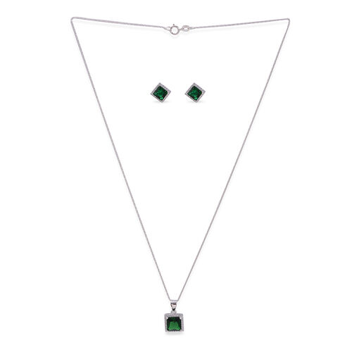 Close Out Deal AAA Simulated Emerald (Sqr), Simulated White Diamond Pendant with Chain (Size 18) and Stud Earrings in Rhodium Plated Sterling Silver