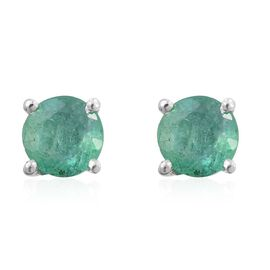 Zambian Emerald 1 Carat Silver Solitaire Stud Earrings in Platinum Overlay