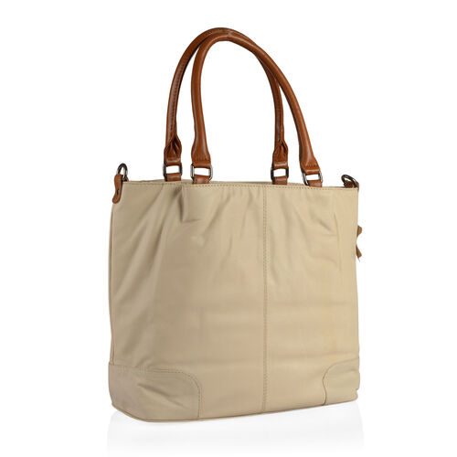 TOP Grain Genuine Leather RFID Blocker Beige Colour Tote Bag with External Zipper Pocket (Size 40X31X15.5 Cm)