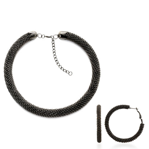 Necklace (Size 20) and Hoop Earrings in Black Tone
