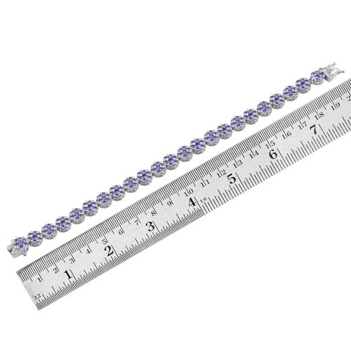 AA Tanzanite (Rnd) Bracelet (Size 7.5) in Platinum Overlay Sterling Silver 11.400 Ct.