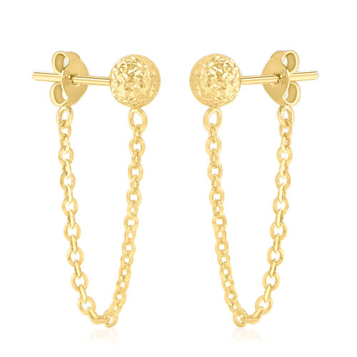 JCK Vegas Collection 9K Yellow Gold Draped Chain Ball Earrings (with Push Back)