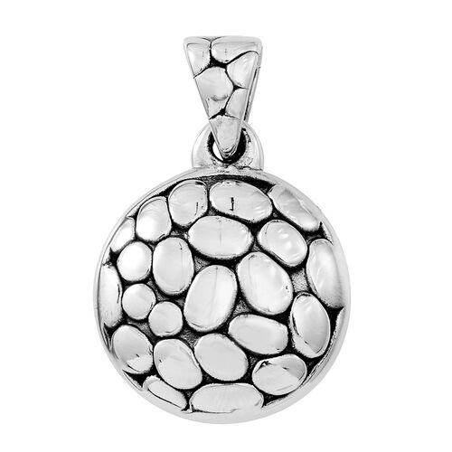Designer Inspired- Sterling Silver Pebble Circle Pendant, Silver wt. 4.91 Gms.