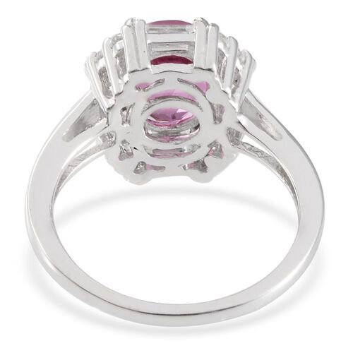 Kunzite Colour Quartz (Ovl 3.25 Ct), White Topaz Ring in  Platinum Overlay Sterling Silver 4.250 Ct.