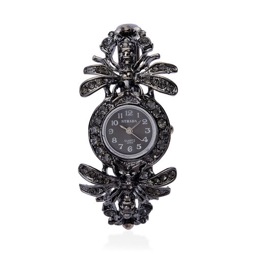 STRADA Japanese Movement Black Dial Bangle Watch in Black Tone with Stainless Steel Back and Black Austrian Crystal Dragonfly Strap