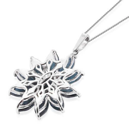Indicolite Quartz (Mrq) Floral Pendant With Chain in Platinum Overlay Sterling Silver 14.500 Ct.