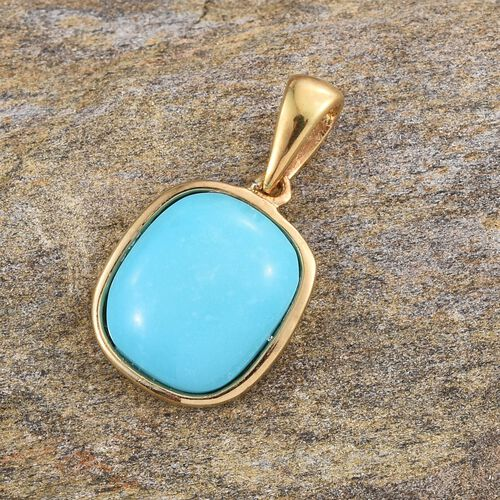 Arizona Sleeping Beauty Turquoise (Cush) Solitaire Pendant in 14K Gold Overlay Sterling Silver 4.250 Ct.