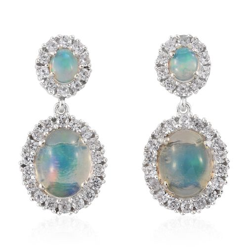 Ethiopian Welo Opal (Ovl), Natural Cambodian Zircon Earrings (with Push Back) in Platinum Overlay Sterling Silver 5.500 Ct.