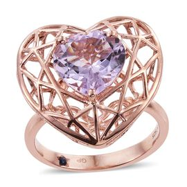 GP Rose De France Amethyst (Hrt), Kanchanaburi Blue Sapphire Heart Ring in Rose Gold Overlay Sterling Silver Ring 4.250 Ct.