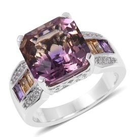 Limited Edition- Anahi Ametrine ( Very Rare Asscher Cut-10.00 Ct), Amethyst, Citrine and Natural White Cambodian Zircon Ring in Rhodium Overlay Sterling Silver 10.965 Ct,