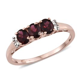 Rhodolite Garnet (1.25 Ct) and Diamond Sterling Silver Ring  1.260  Ct.