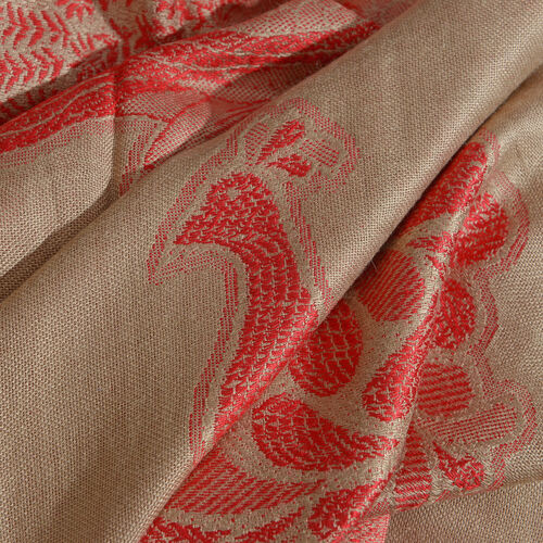 Beige and Red Colour Peacock Pattern Scarf with Tassels (Size 200X70 Cm)