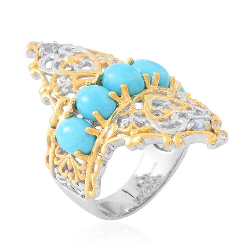 Arizona Sleeping Beauty Turquoise (Ovl), Natural White Zircon Ring in Rhodium and Yellow Gold Overlay Sterling Silver 5.250 Ct.