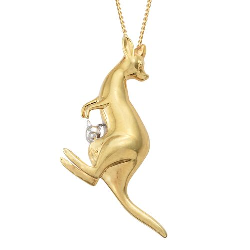 Mother Kangaroo with Baby Pendant with Chain in Platinum and Gold Plated Silver 5.30 Gms