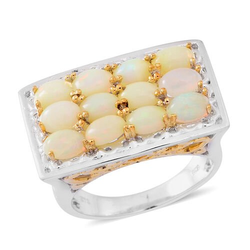 Designer Inspired-Ethiopian Welo Opal (Ovl) Ring in Rhodium and Yellow Gold Overlay Sterling Silver 3.600 Ct.