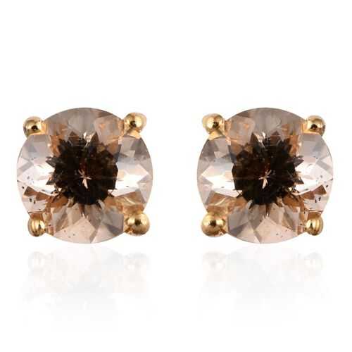 Marialite (Rnd) Stud Earrings (with Push Back) in 14K Gold Overlay Sterling Silver 1.000 Ct.