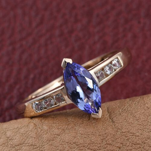 9K Y Gold Tanzanite (Mrq 1.00 Ct), Natural Cambodian Zircon Ring 1.250 Ct.