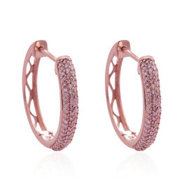 One Time Deal-9K Rose Gold Natural Pink Diamond (Rnd) (I2-I3) Hoop Earrings (with Clasp Lock) 0.500 Ct. Number of Diamonds 124