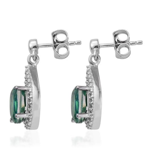 Peacock Quartz (Ovl) Earrings (with Push Back) in Platinum Overlay Sterling Silver 3.250 Ct.
