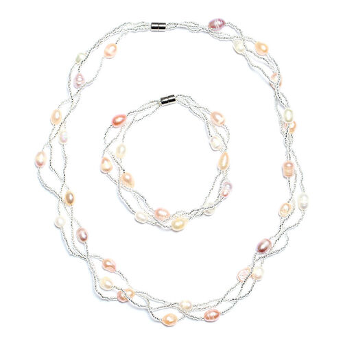 Close Out Deal Fresh Water Peach, Pink and White Pearl Necklace (Size 18) and Bracelet (Size 7) in Silver Bond