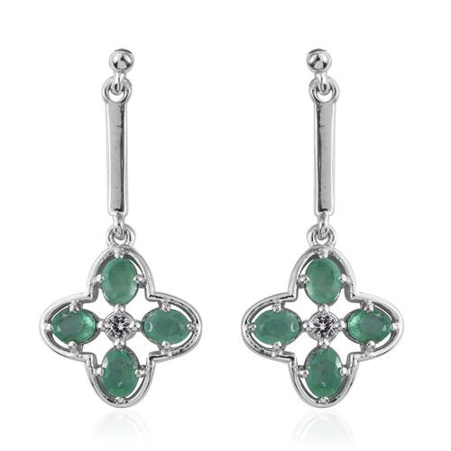 Kagem Zambian Emerald (Ovl), White Topaz Earrings (with Push Back) in Platinum Overlay Sterling Silver 1.500 Ct.