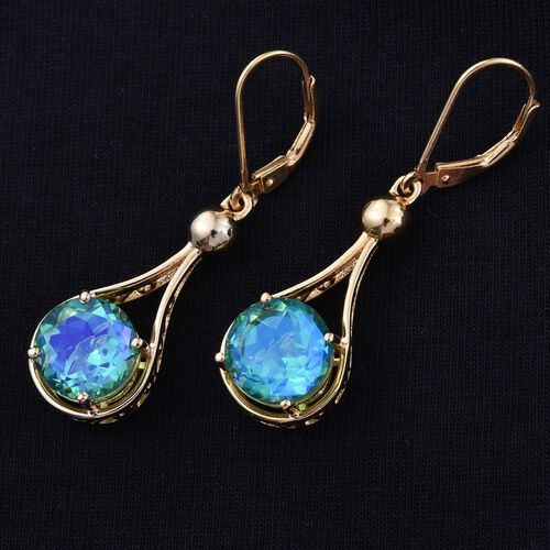 Peacock Quartz (Rnd) Lever Back Earrings in 14K Gold Overlay Sterling Silver 7.500  Ct.
