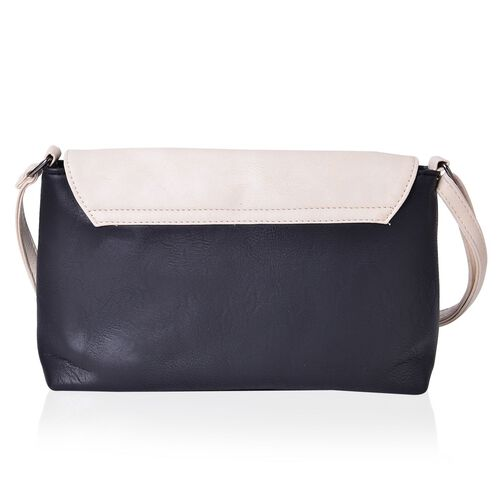 Black and Cream Colour Envelope Design Crossbody Bag with Adjustable Shoulder Strap (Size 27X17.5X8 Cm)